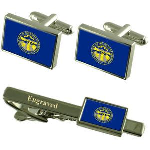 【送料無料】メンズアクセサリ― ネブラスカカフスボタンタイクリップマッチングボックスnebraska flag cufflinks engraved tie clip matching box set