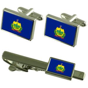 【送料無料】メンズアクセサリ― バーモントカフスボタンタイクリップマッチングボックスセットvermont flag cufflinks tie clip matching box gift set