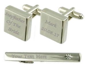 【送料無料】メンズアクセサリ― カフスボタンタイクリップボックスセットstepfather of bride engraved cufflinks tie clip box set