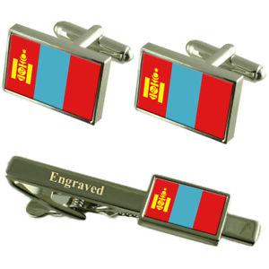 【送料無料】メンズアクセサリ― モンゴルカフスボタンタイクリップマッチングボックスmongolia flag cufflinks engraved tie clip matching box set