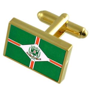 【送料無料】メンズアクセサリ― ヴィアナエスピリトサントゴールドフラッグカフスボタンボックスviana city espirito santo state gold flag cufflinks engraved box