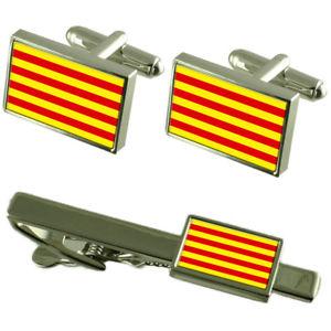 【送料無料】メンズアクセサリ― フラグカフスボタンタイクリップマッチングボックスセットcatalonia flag cufflinks tie clip matching box gift set