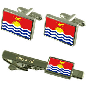 【送料無料】メンズアクセサリ― キリバスカフスボタンタイクリップマッチングボックスkiribati flag cufflinks engraved tie clip matching box set