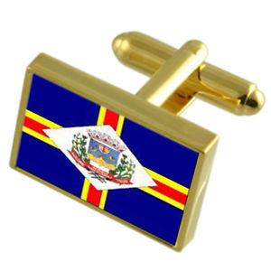 【送料無料】メンズアクセサリ― シティエスピリトサントゴールドフラッグカフスボタンボックスguacui city espirito santo state gold flag cufflinks engraved box
