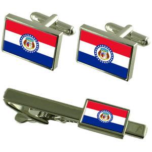 【送料無料】メンズアクセサリ― ミズーリカフスボタンタイクリップマッチングボックスセットmissouri flag cufflinks tie clip matching box gift set