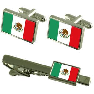 【送料無料】メンズアクセサリ― フラグカフスボタンタイクリップマッチングボックスセットmxico flag cufflinks tie clip matching box gift set