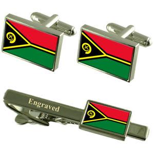 【送料無料】メンズアクセサリ― バヌアツカフスボタンタイクリップマッチングボックスvanuatu flag cufflinks engraved tie clip matching box set