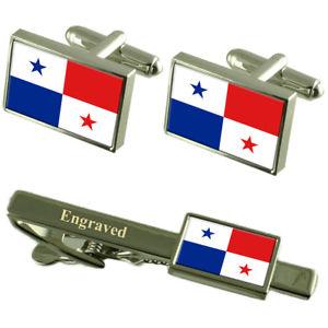 【送料無料】メンズアクセサリ― フラグカフスボタンタイクリップマッチングボックスpanam flag cufflinks engraved tie clip matching box set