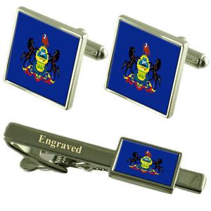 【送料無料】メンズアクセサリ― ペンシルバニアカフスボタンタイクリップマッチングボックスpennsylvania flag cufflinks engraved tie clip matching box set
