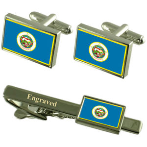 【送料無料】メンズアクセサリ― ミネソタカフスボタンタイクリップマッチングボックスminnesota flag cufflinks engraved tie clip matching box set