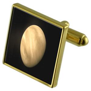 【送料無料】メンズアクセサリ― カフスボタンクリスタルタイクリップセットplanet venus goldtone cufflinks crystal tie clip gift set