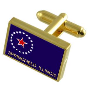 【送料無料】メンズアクセサリ― スプリングフィールドゴールドフラッグカフスボタンボックスspringfield city united states gold flag cufflinks engraved box