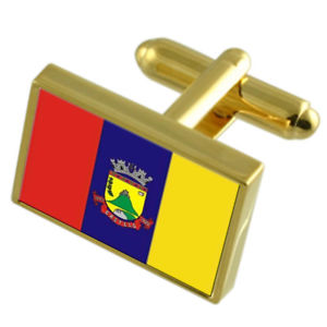 【送料無料】メンズアクセサリ― カステロシティエスピリトサントゴールドフラッグカフスボタンボックスcastelo city espirito santo state gold flag cufflinks engraved box