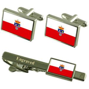 【送料無料】メンズアクセサリ― カンタブリアフラグカフスボタンタイクリップマッチングボックスcantabria flag cufflinks engraved tie clip matching box set