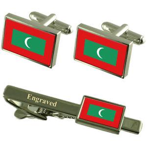 【送料無料】メンズアクセサリ― モルディブカフスボタンタイクリップマッチングボックスmaldives flag cufflinks engraved tie clip matching box set