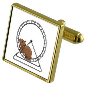 【送料無料】メンズアクセサリ― ホイールカフスボタンクリスタルタイクリップセットハムスターhamster on a wheel goldtone cufflinks crystal tie clip gift set