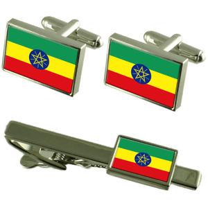 【送料無料】メンズアクセサリ― エチオピアカフスボタンタイクリップマッチングボックスセットethiopia flag cufflinks tie clip matching box gift set