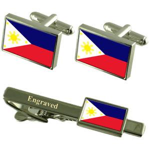 【送料無料】メンズアクセサリ― フィリピンカフスボタンタイクリップマッチングボックスphilippines flag cufflinks engraved tie clip matching box set