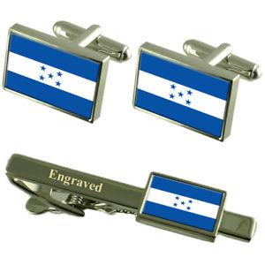 【送料無料】メンズアクセサリ― ホンジュラスカフスボタンタイクリップマッチングボックスhonduras flag cufflinks engraved tie clip matching box set