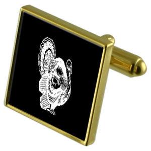 【送料無料】メンズアクセサリ― トルコカフスボタンクリスタルタイクリップセットturkey bird goldtone cufflinks crystal tie clip gift set