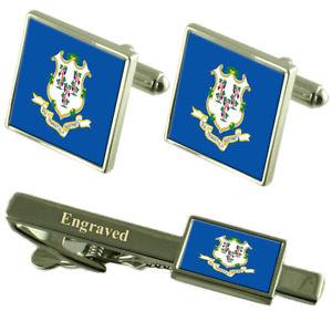 【送料無料】メンズアクセサリ― コネチカットカフスボタンタイクリップマッチングボックスconnecticut flag cufflinks engraved tie clip matching box set