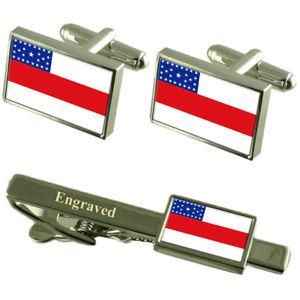 【送料無料】メンズアクセサリ― フラグカフスボタンタイクリップマッチングボックスamazonas flag cufflinks engraved tie clip matching box set