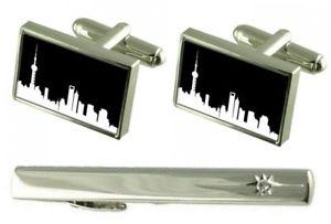 【送料無料】メンズアクセサリ― タイクリップスカイラインカフスボタンセットgift set tie clip skyline shanghai cufflinks