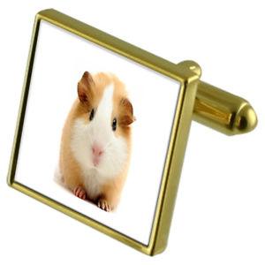 【送料無料】メンズアクセサリ― モルモットカフスボタンクリスタルタイクリップセットguinea pig goldtone cufflinks crystal tie clip gift set
