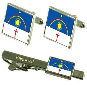 【送料無料】メンズアクセサリ― ペルナンブコフラグカフスボタンタイクリップマッチングボックスpernambuco flag cufflinks engraved tie clip matching box set
