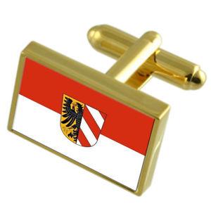 【送料無料】メンズアクセサリ― ニュルンベルクドイツゴールドフラッグカフスボタンボックスnuremberg germany gold flag cufflinks engraved box