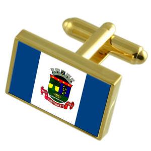 【送料無料】メンズアクセサリ― シティエスピリトサントゴールドフラッグカフスボタンボックスlinhares city espirito santo state gold flag cufflinks engraved box