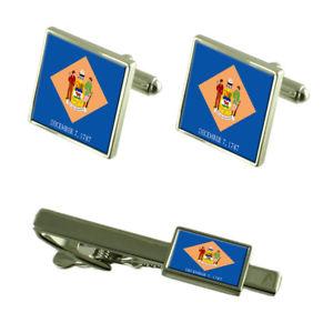 【送料無料】メンズアクセサリ― デラウェアカフスボタンタイクリップマッチングボックスセットdelaware flag cufflinks tie clip matching box gift set