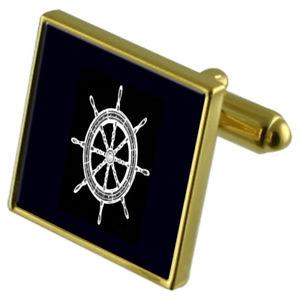 【送料無料】メンズアクセサリ― ホイールカフスボタンクリスタルタイクリップセットhelm ship wheel goldtone cufflinks crystal tie clip gift set