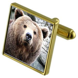 【送料無料】メンズアクセサリ― カフスボタンクリスタルタイクリップセットwild brown bear goldtone cufflinks crystal tie clip gift set