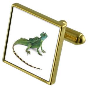 【送料無料】メンズアクセサリ― トカゲカフスボタンクリスタルタイクリップセットreptile lizard goldtone cufflinks crystal tie clip gift set