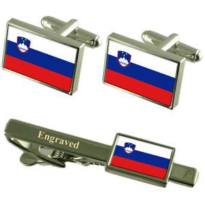 【送料無料】メンズアクセサリ― スロベニアカフスボタンタイクリップマッチングボックスslovenia flag cufflinks engraved tie clip matching box set