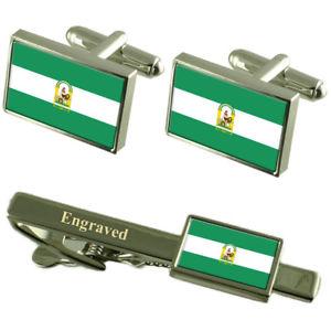 【送料無料】メンズアクセサリ― フラグカフスボタンタイクリップマッチングボックスandaluca flag cufflinks engraved tie clip matching box set