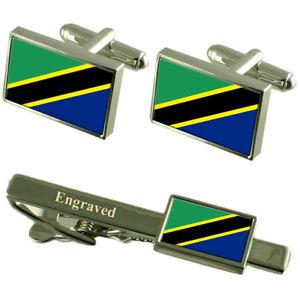 【送料無料】メンズアクセサリ― タンザニアカフスボタンタイクリップマッチングボックスtanzania flag cufflinks engraved tie clip matching box set