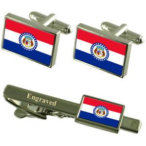 【送料無料】メンズアクセサリ― ミズーリカフスボタンタイクリップマッチングボックスmissouri flag cufflinks engraved tie clip matching box set
