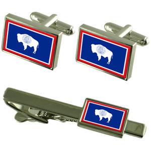 【送料無料】メンズアクセサリ― ワイオミングカフスボタンタイクリップマッチングボックスセットwyoming flag cufflinks tie clip matching box gift set