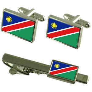 【送料無料】メンズアクセサリ― ナミビアカフスボタンタイクリップマッチングボックスセットnamibia flag cufflinks tie clip matching box gift set