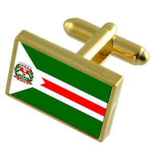 送料無料 売れ筋 40%OFFの激安セール メンズアクセサリ― シティエスピリトサントゴールドフラッグカフスボタンボックスecoporanga city espirito santo box cufflinks flag state engraved gold