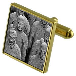 【送料無料】メンズアクセサリ― テラコッタカフスボタンクリスタルタイクリップセットteracotta china army goldtone cufflinks crystal tie clip gift set