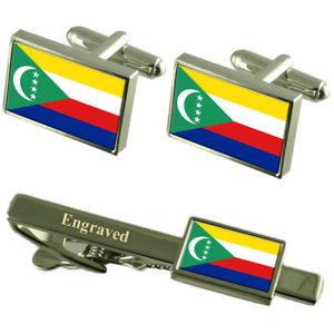 【送料無料】メンズアクセサリ― コモロカフスボタンタイクリップマッチングボックスcomoros flag cufflinks engraved tie clip matching box set