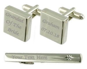 【送料無料】メンズアクセサリ― カフスボタンタイクリップボックスセットgrandfather of bride engraved cufflinks tie clip box set