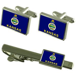 【送料無料】メンズアクセサリ― カンザスカフスボタンタイクリップマッチングボックスセットkansas flag cufflinks tie clip matching box gift set