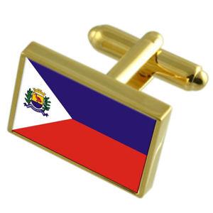 【送料無料】メンズアクセサリ― シティエスピリトサントゴールドフラッグカフスボタンボックスguarapari city espirito santo state gold flag cufflinks engraved box