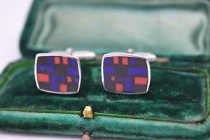 【送料無料】メンズアクセサリ― ビンテージスターリングシルバーエナメルモザイクインサートカフリンクスvintage sterling silver cufflinks with an enamel mosaic inserts b229