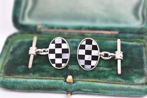 【送料無料】メンズアクセサリ― ビンテージアールデコスターリングシルバーパールオニキスカフリンクスvintage art deco sterling silver cufflinks with mother of pearl and onyx g156