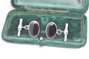 【送料無料】メンズアクセサリ― ビンテージスターリングシルバーアールデコオニキスカフリンクスvintage sterling silver cufflinks with an art deco onyx insert b708